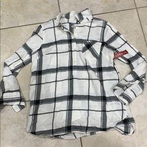 NWT Merona Plaid Popover Flannel Tunic Shirt XXL